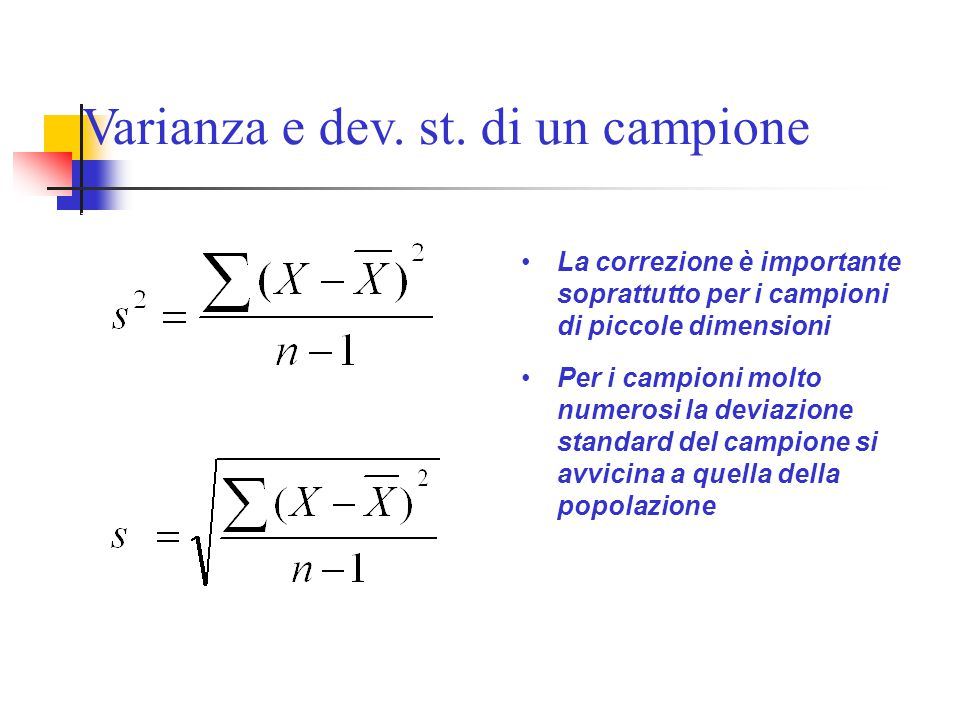 Varianza e dev. st. di un campione Varianza di un campione Deviazione standard di un campione La correzione è importante soprattutto per i campioni di