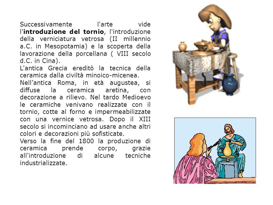 Successivamente l'arte vide l'introduzione del tornio, l'introduzione della verniciatura vetrosa (II millennio a.C. in Mesopotamia) e la scoperta dell