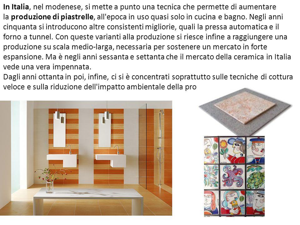 In Italia, nel modenese, si mette a punto una tecnica che permette di aumentare la produzione di piastrelle, all'epoca in uso quasi solo in cucina e b