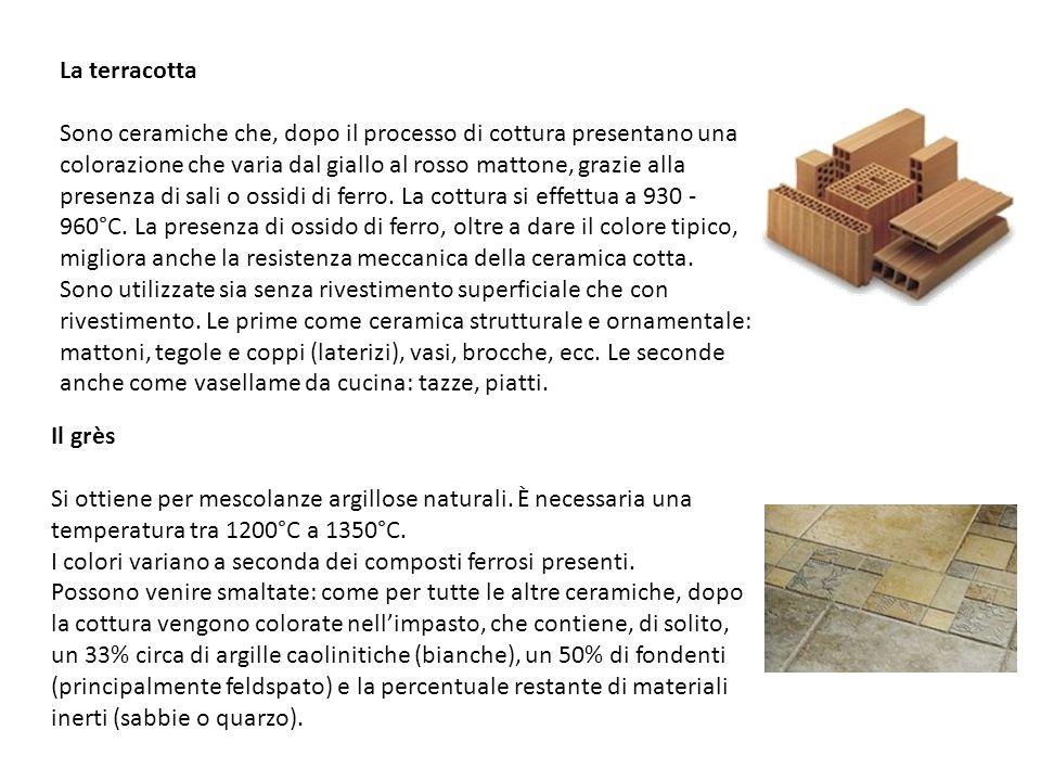 La terracotta Sono ceramiche che, dopo il processo di cottura presentano una colorazione che varia dal giallo al rosso mattone, grazie alla presenza d