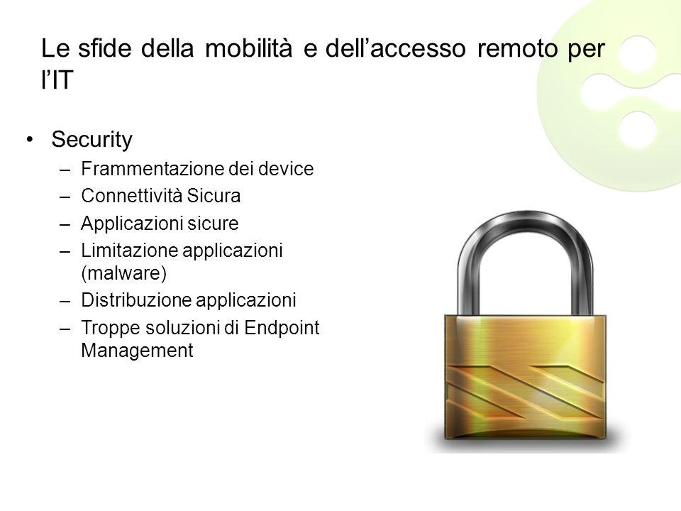 Le sfide della mobilità e dell'accesso remoto per l'IT Security –Frammentazione dei device –Connettività Sicura –Applicazioni sicure –Limitazione applicazioni (malware) –Distribuzione applicazioni –Troppe soluzioni di Endpoint Management