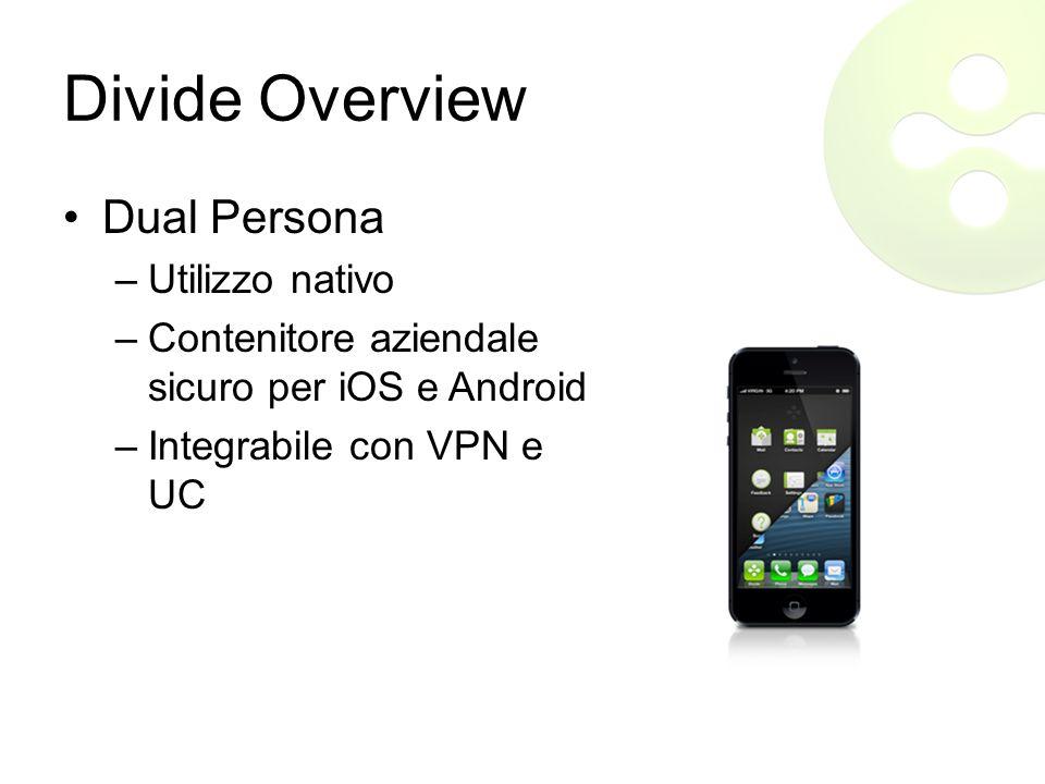 Divide Overview Dual Persona –Utilizzo nativo –Contenitore aziendale sicuro per iOS e Android –Integrabile con VPN e UC