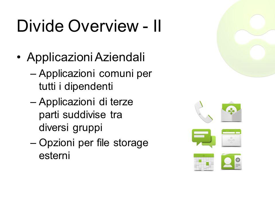 Divide Overview - II Applicazioni Aziendali –Applicazioni comuni per tutti i dipendenti –Applicazioni di terze parti suddivise tra diversi gruppi –Opzioni per file storage esterni