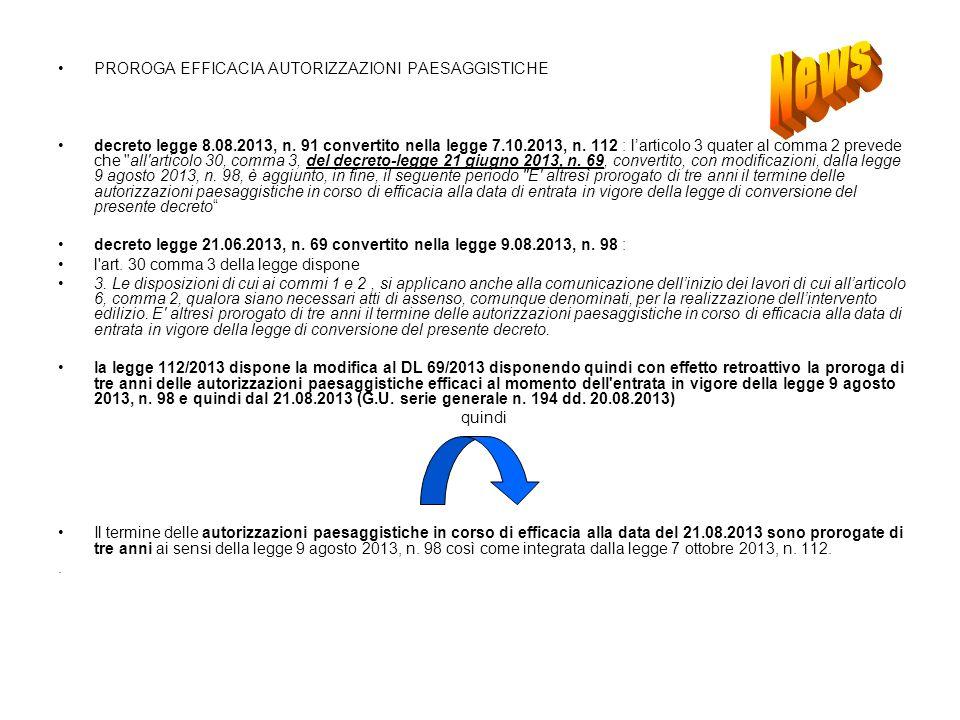 PROROGA EFFICACIA AUTORIZZAZIONI PAESAGGISTICHE decreto legge 8.08.2013, n.