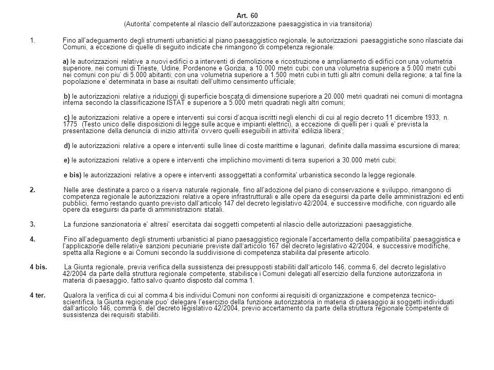 Art. 60 (Autorita' competente al rilascio dell'autorizzazione paesaggistica in via transitoria) 1.Fino all'adeguamento degli strumenti urbanistici al