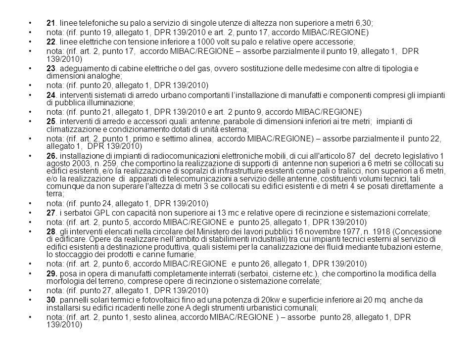 21. linee telefoniche su palo a servizio di singole utenze di altezza non superiore a metri 6,30; nota: (rif. punto 19, allegato 1, DPR 139/2010 e art