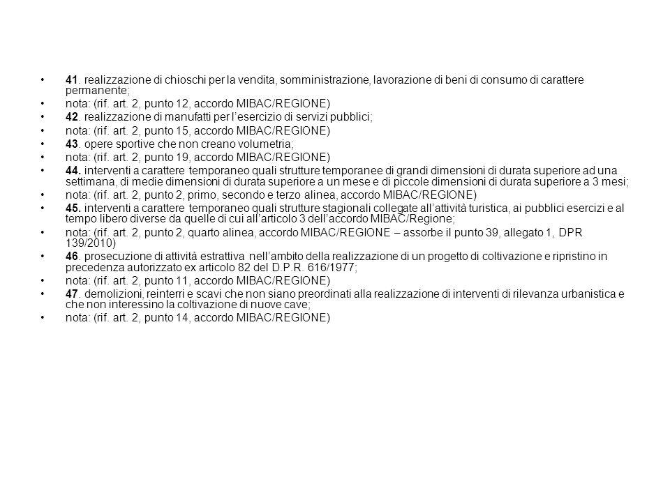 41. realizzazione di chioschi per la vendita, somministrazione, lavorazione di beni di consumo di carattere permanente; nota: (rif. art. 2, punto 12,