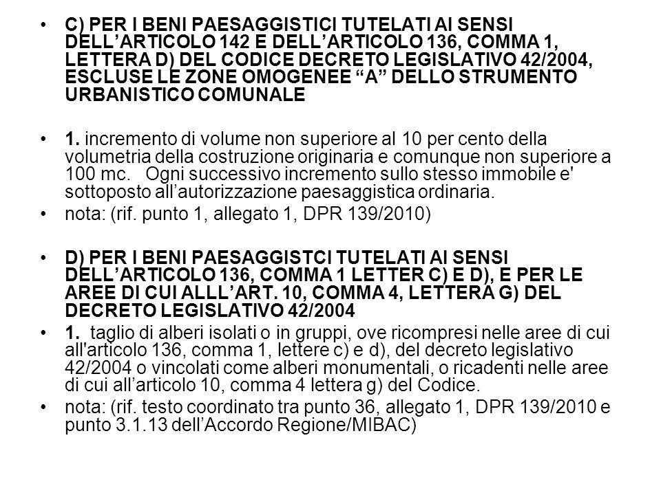 C) PER I BENI PAESAGGISTICI TUTELATI AI SENSI DELL'ARTICOLO 142 E DELL'ARTICOLO 136, COMMA 1, LETTERA D) DEL CODICE DECRETO LEGISLATIVO 42/2004, ESCLUSE LE ZONE OMOGENEE A DELLO STRUMENTO URBANISTICO COMUNALE 1.
