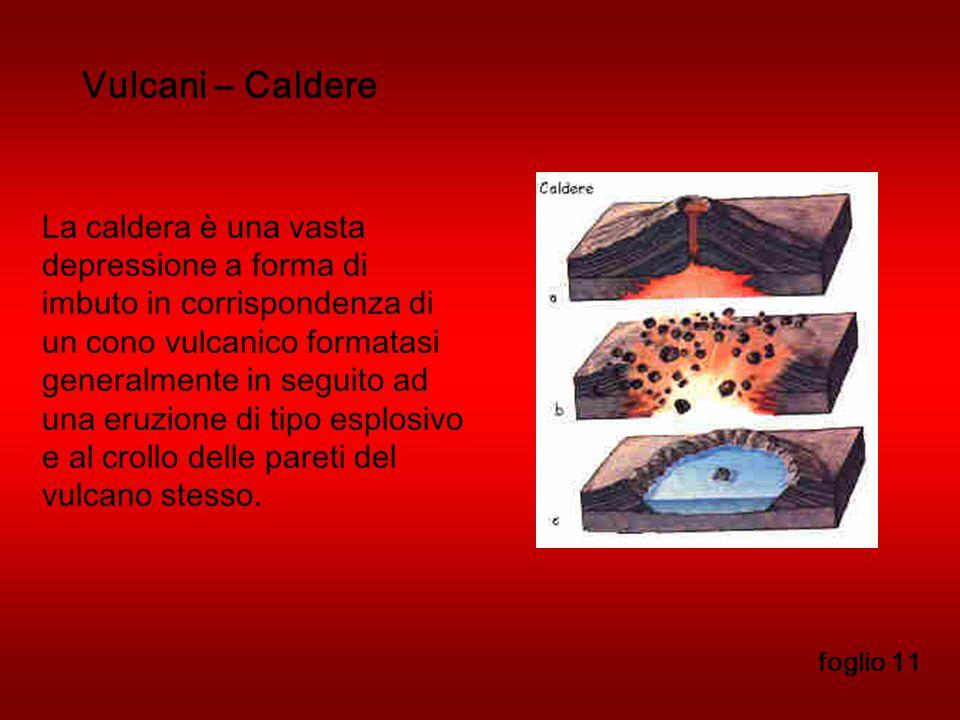 Vulcani – Caldere foglio 11 La caldera è una vasta depressione a forma di imbuto in corrispondenza di un cono vulcanico formatasi generalmente in seguito ad una eruzione di tipo esplosivo e al crollo delle pareti del vulcano stesso.