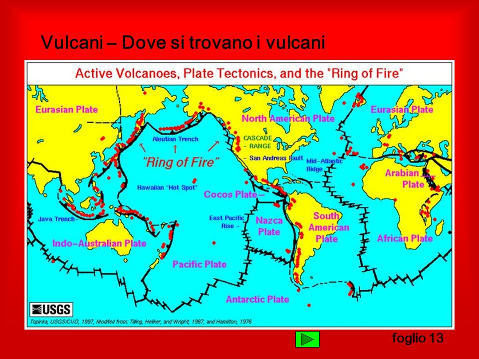 Vulcani – Dove si trovano i vulcani foglio 13
