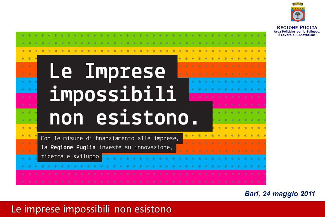 Le imprese impossibili non esistono R EGIONE P UGLIA Area Politiche per lo Sviluppo, il Lavoro e l ' Innovazione Bari, 24 maggio 2011
