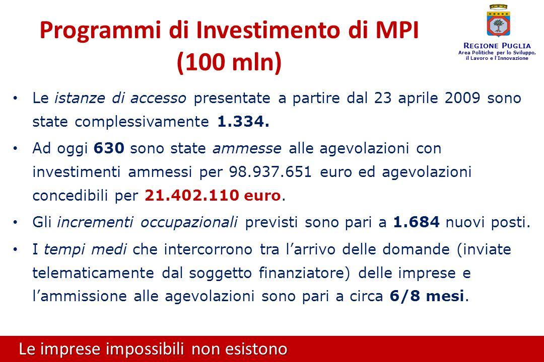 Le imprese impossibili non esistono R EGIONE P UGLIA Area Politiche per lo Sviluppo, il Lavoro e l ' Innovazione Le istanze di accesso presentate a partire dal 23 aprile 2009 sono state complessivamente 1.334.