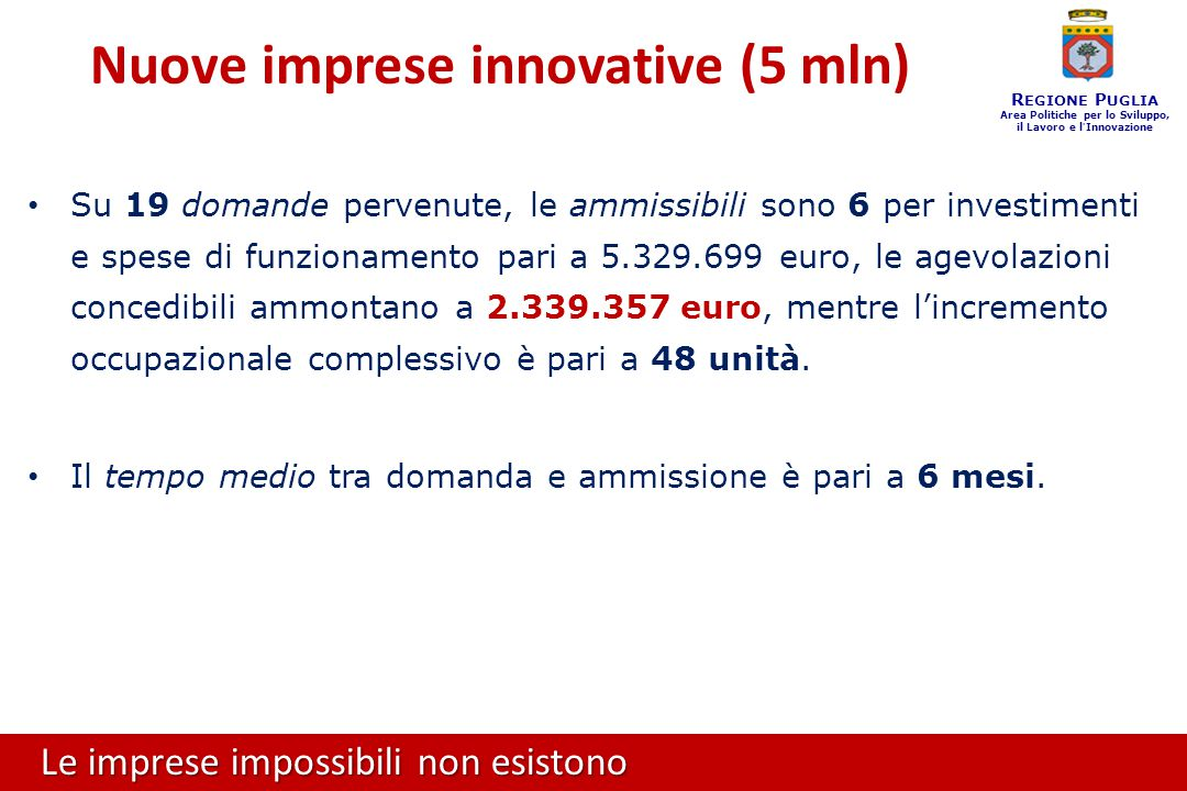 Le imprese impossibili non esistono R EGIONE P UGLIA Area Politiche per lo Sviluppo, il Lavoro e l ' Innovazione Su 19 domande pervenute, le ammissibili sono 6 per investimenti e spese di funzionamento pari a 5.329.699 euro, le agevolazioni concedibili ammontano a 2.339.357 euro, mentre l'incremento occupazionale complessivo è pari a 48 unità.