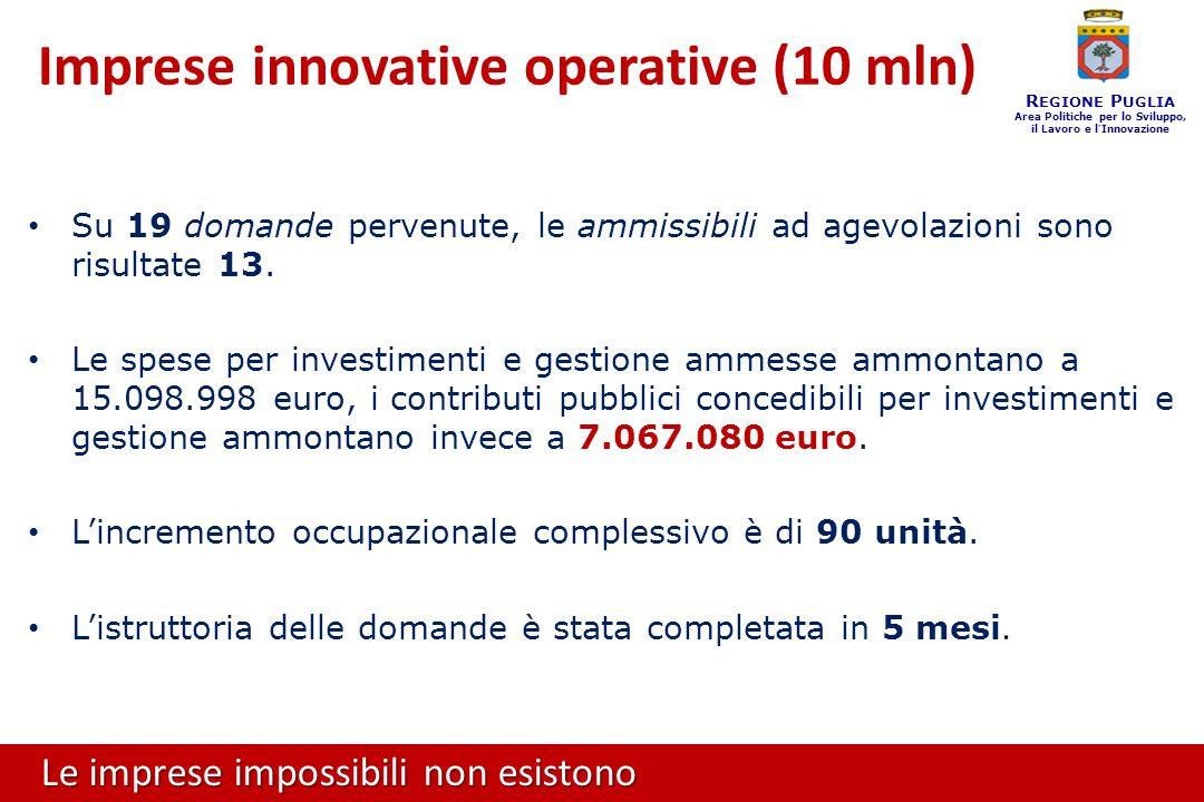 Le imprese impossibili non esistono R EGIONE P UGLIA Area Politiche per lo Sviluppo, il Lavoro e l ' Innovazione Su 19 domande pervenute, le ammissibili ad agevolazioni sono risultate 13.
