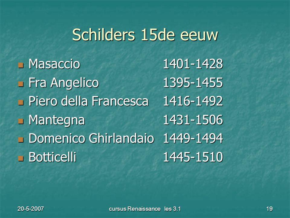 20-5-2007cursus Renaissance les 3.119 Schilders 15de eeuw Masaccio1401-1428 Masaccio1401-1428 Fra Angelico1395-1455 Fra Angelico1395-1455 Piero della Francesca1416-1492 Piero della Francesca1416-1492 Mantegna1431-1506 Mantegna1431-1506 Domenico Ghirlandaio1449-1494 Domenico Ghirlandaio1449-1494 Botticelli1445-1510 Botticelli1445-1510