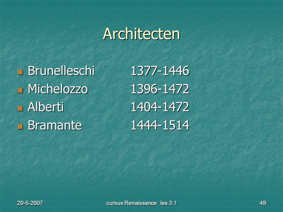 20-5-2007cursus Renaissance les 3.149 Architecten Brunelleschi1377-1446 Brunelleschi1377-1446 Michelozzo1396-1472 Michelozzo1396-1472 Alberti1404-1472 Alberti1404-1472 Bramante1444-1514 Bramante1444-1514