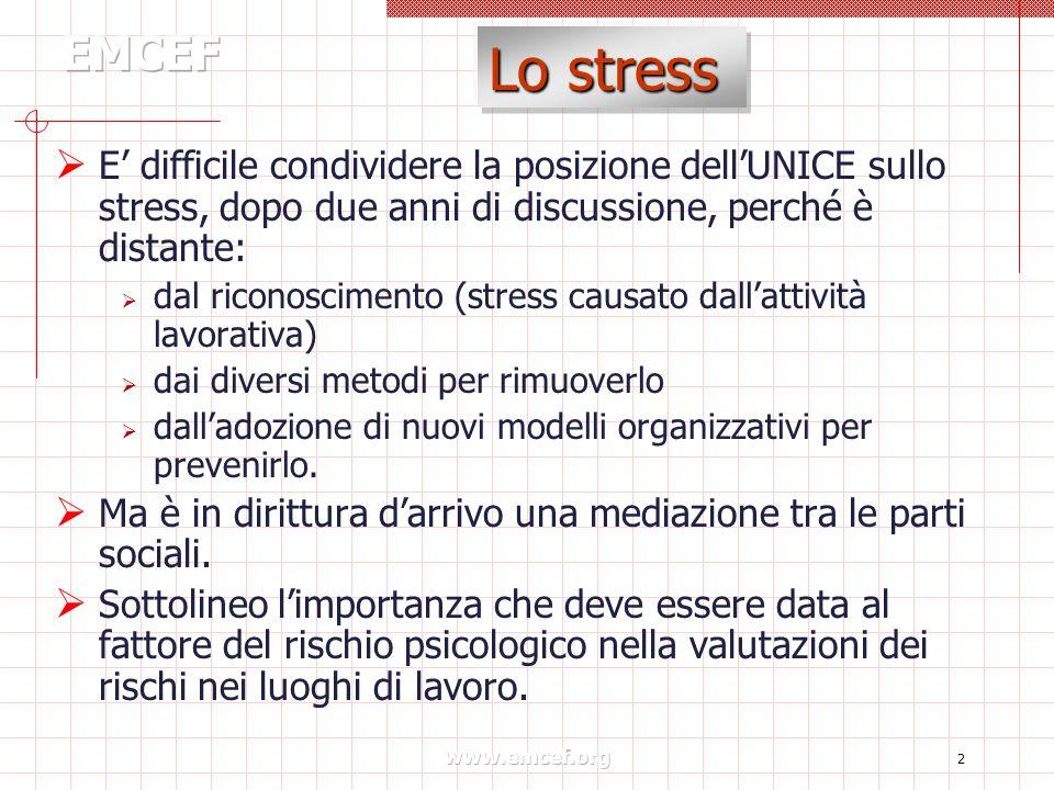 www.emcef.org 2 Lo stress  E' difficile condividere la posizione dell'UNICE sullo stress, dopo due anni di discussione, perché è distante:  dal rico