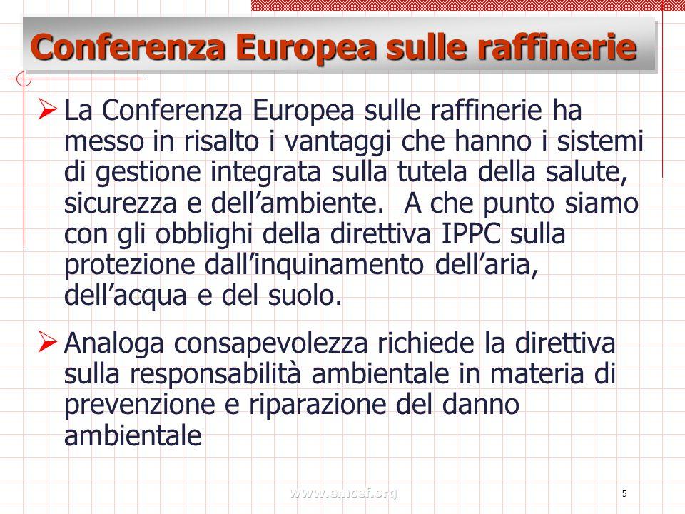 www.emcef.org 5 Conferenza Europea sulle raffinerie  La Conferenza Europea sulle raffinerie ha messo in risalto i vantaggi che hanno i sistemi di gestione integrata sulla tutela della salute, sicurezza e dell'ambiente.