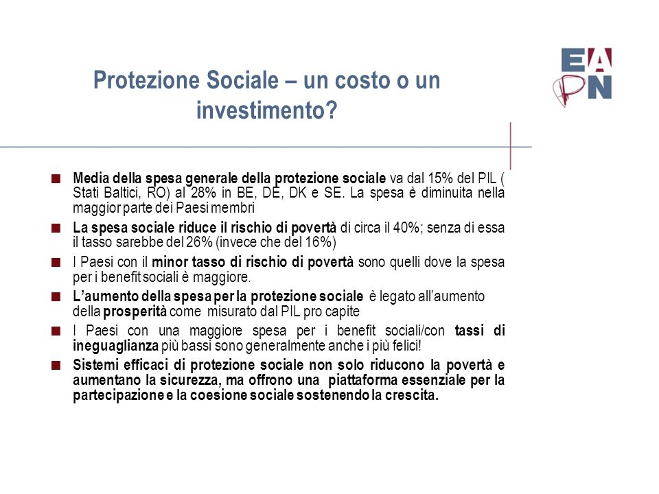 Protezione Sociale – un costo o un investimento.