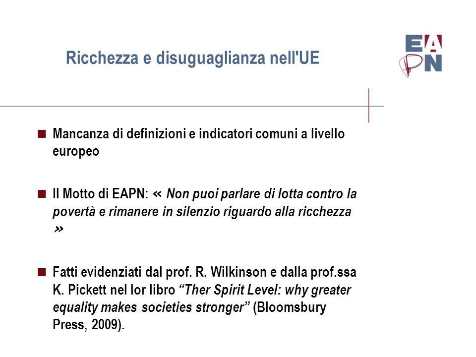 Ricchezza e disuguaglianza nell UE  Mancanza di definizioni e indicatori comuni a livello europeo  Il Motto di EAPN: « Non puoi parlare di lotta contro la povertà e rimanere in silenzio riguardo alla ricchezza »  Fatti evidenziati dal prof.