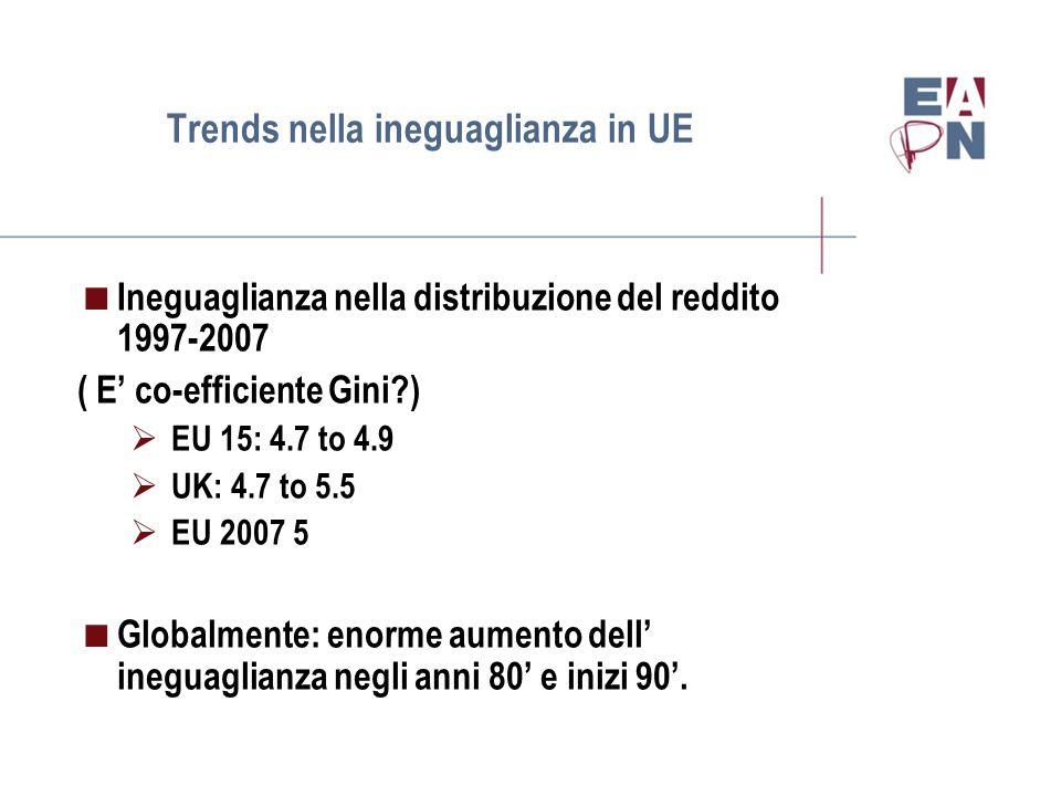 Trends nella ineguaglianza in UE  Ineguaglianza nella distribuzione del reddito 1997-2007 ( E' co-efficiente Gini )  EU 15: 4.7 to 4.9  UK: 4.7 to 5.5  EU 2007 5  Globalmente: enorme aumento dell' ineguaglianza negli anni 80' e inizi 90'.