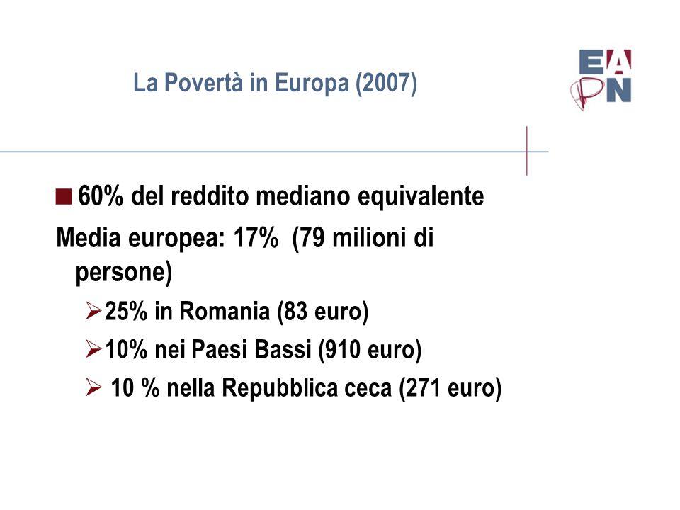 La Povertà nel lavoro(2007)  Cifre della povertà nel lavoro  Media dell'UE: 8% della popolazione lavorativa (circa 18 milioni di persone)  14% in Grecia (510 euro)  3% Repubblica Ceca (271 euro)