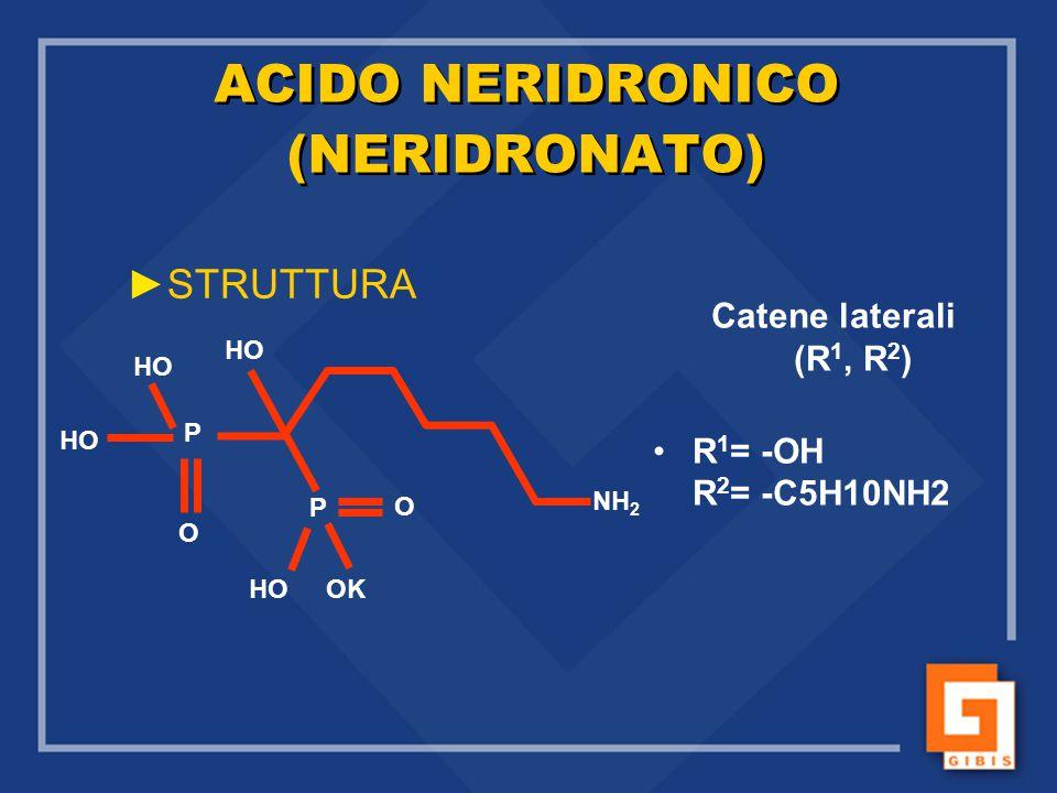 ACIDO NERIDRONICO (NERIDRONATO) ►STRUTTURA Catene laterali (R 1, R 2 ) R 1 = -OH R 2 = -C5H10NH2 HO P P O O OK NH 2