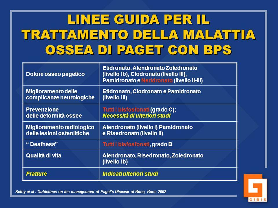 LINEE GUIDA PER IL TRATTAMENTO DELLA MALATTIA OSSEA DI PAGET CON BPS LINEE GUIDA PER IL TRATTAMENTO DELLA MALATTIA OSSEA DI PAGET CON BPS Selby et al.