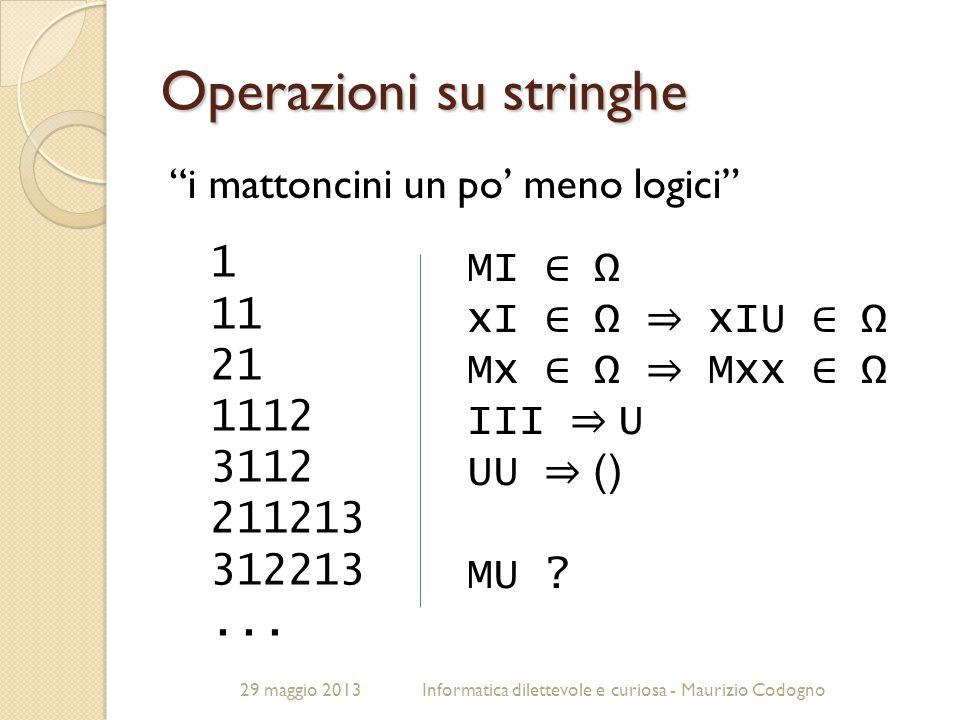 """29 maggio 2013Informatica dilettevole e curiosa - Maurizio Codogno Operazioni su stringhe """"i mattoncini un po' meno logici"""" 1 11 21 1112 3112 211213 3"""