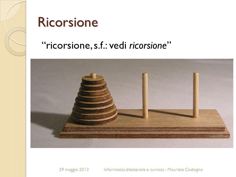 """29 maggio 2013Informatica dilettevole e curiosa - Maurizio Codogno Ricorsione """"ricorsione, s.f.: vedi ricorsione"""""""