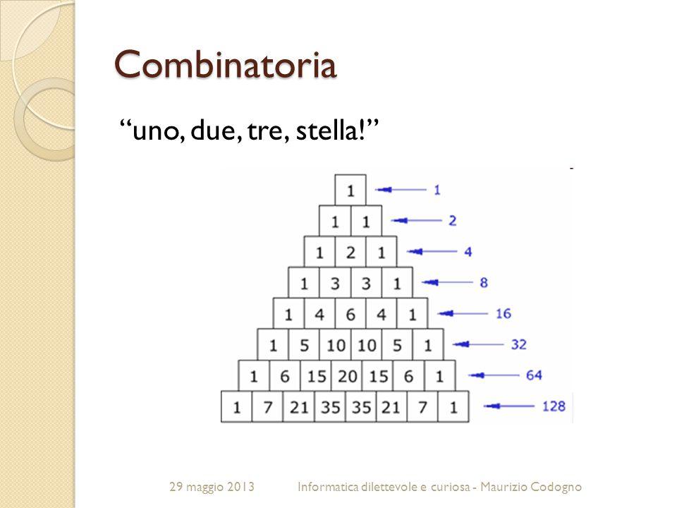 """29 maggio 2013Informatica dilettevole e curiosa - Maurizio Codogno Combinatoria """"uno, due, tre, stella!"""""""