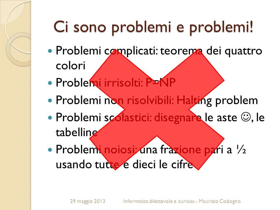 29 maggio 2013Informatica dilettevole e curiosa - Maurizio Codogno Ci sono problemi e problemi! Problemi complicati: teorema dei quattro colori Proble