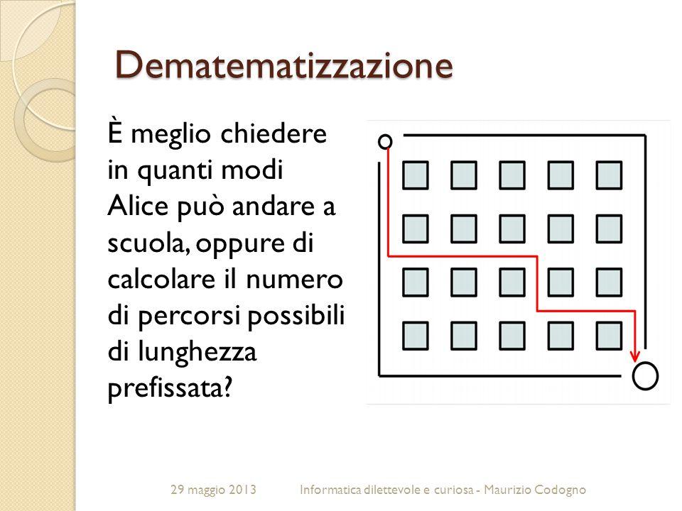 29 maggio 2013Informatica dilettevole e curiosa - Maurizio Codogno Dematematizzazione È meglio chiedere in quanti modi Alice può andare a scuola, oppu