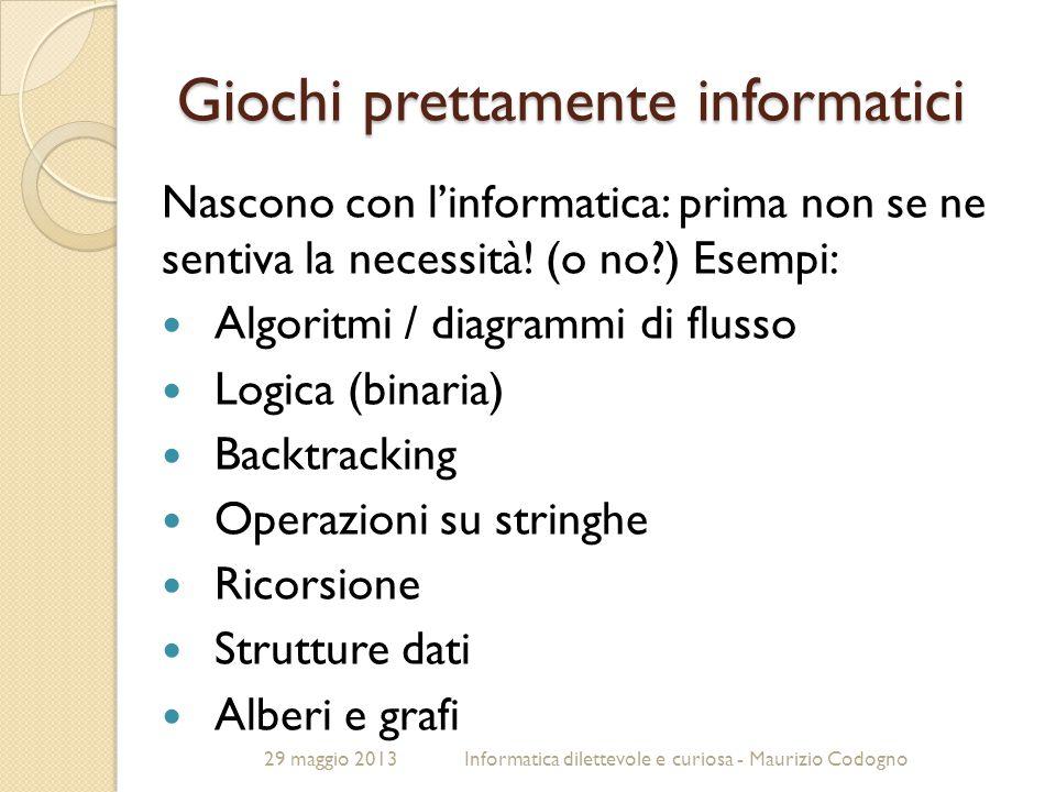 29 maggio 2013Informatica dilettevole e curiosa - Maurizio Codogno Giochi prettamente informatici Nascono con l'informatica: prima non se ne sentiva l