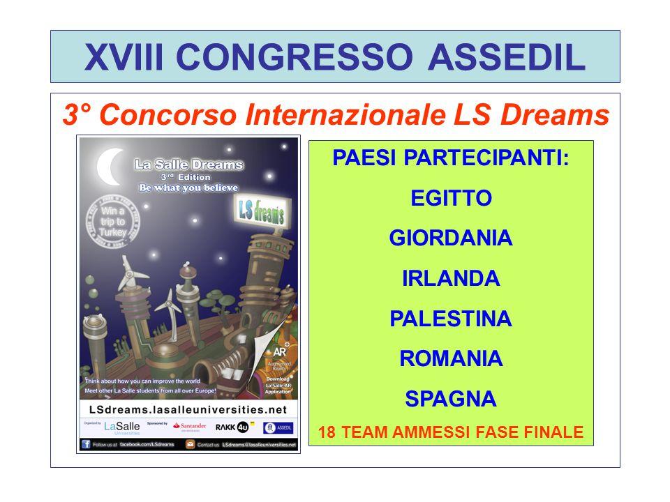 XVIII CONGRESSO ASSEDIL 3° Concorso Internazionale LS Dreams PAESI PARTECIPANTI: EGITTO GIORDANIA IRLANDA PALESTINA ROMANIA SPAGNA 18 TEAM AMMESSI FASE FINALE