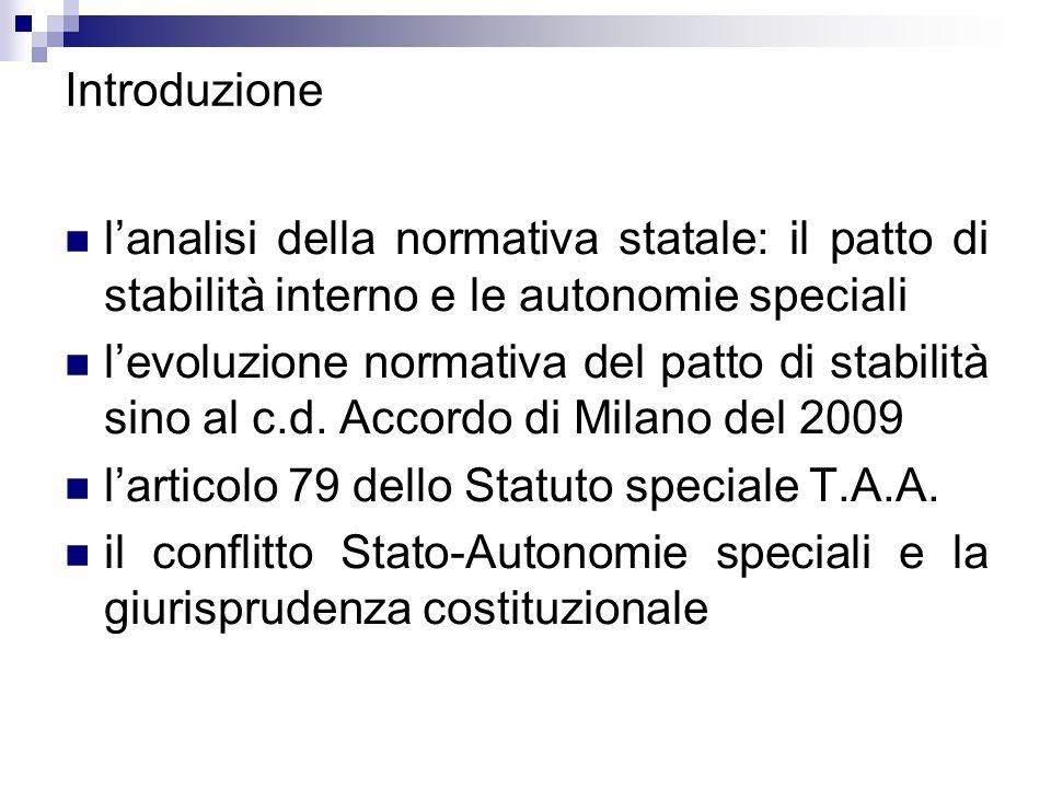 Introduzione l'analisi della normativa statale: il patto di stabilità interno e le autonomie speciali l'evoluzione normativa del patto di stabilità si