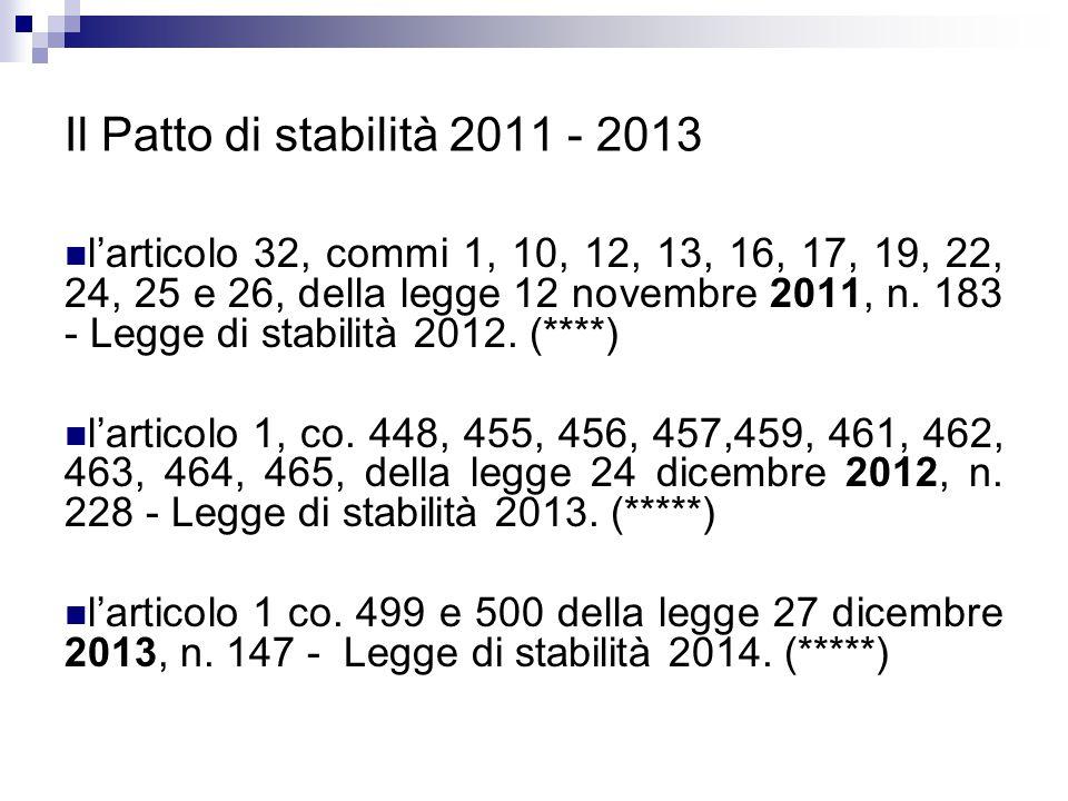 Il Patto di stabilità 2011 - 2013 l'articolo 32, commi 1, 10, 12, 13, 16, 17, 19, 22, 24, 25 e 26, della legge 12 novembre 2011, n. 183 - Legge di sta