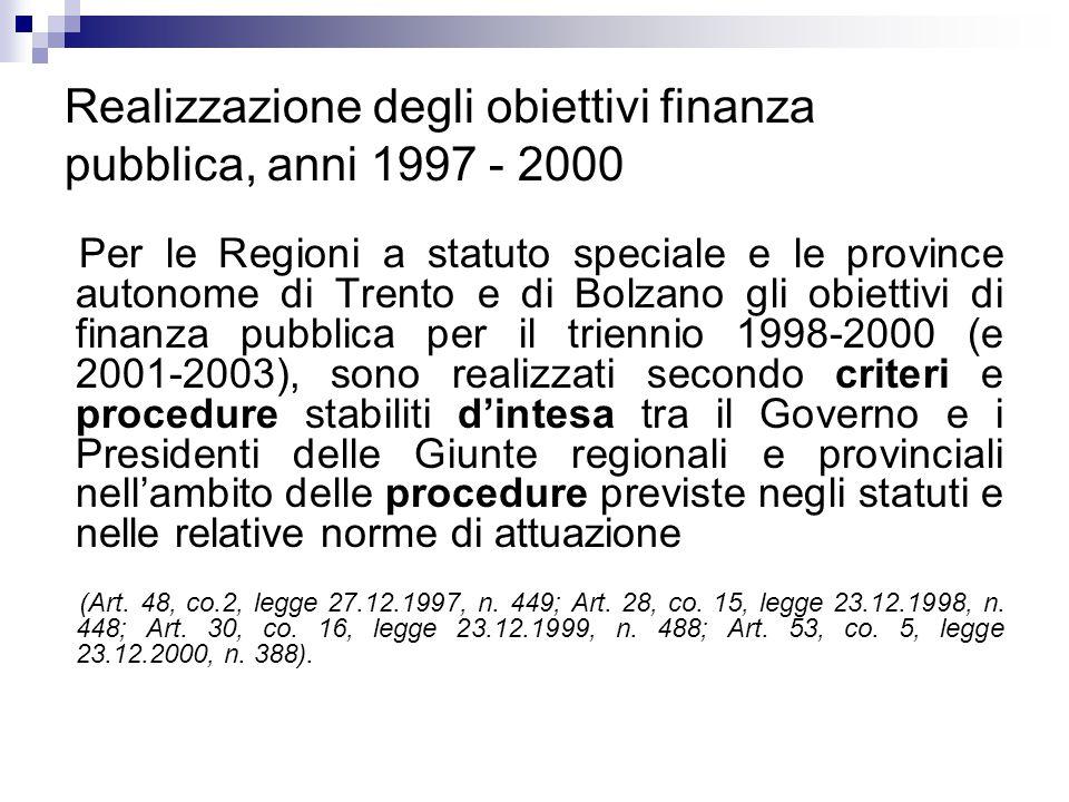Realizzazione degli obiettivi finanza pubblica, anni 1997 - 2000 Per le Regioni a statuto speciale e le province autonome di Trento e di Bolzano gli o