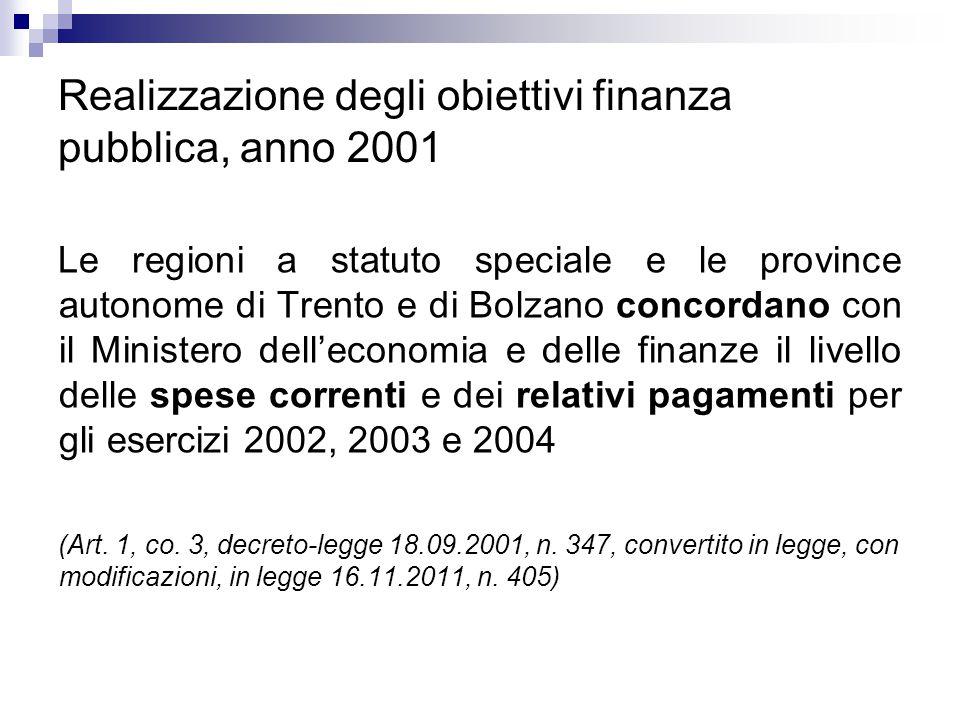 Realizzazione degli obiettivi finanza pubblica, anno 2002 Le regioni a statuto speciale e le province autonome di Trento e di Bolzano concordano, entro il 31 marzo di ciascun anno, con il Ministero dell'economia e delle finanze, per gli esercizi 2003, 2004, e 2005, il livello delle spese correnti e dei relativi pagamenti.