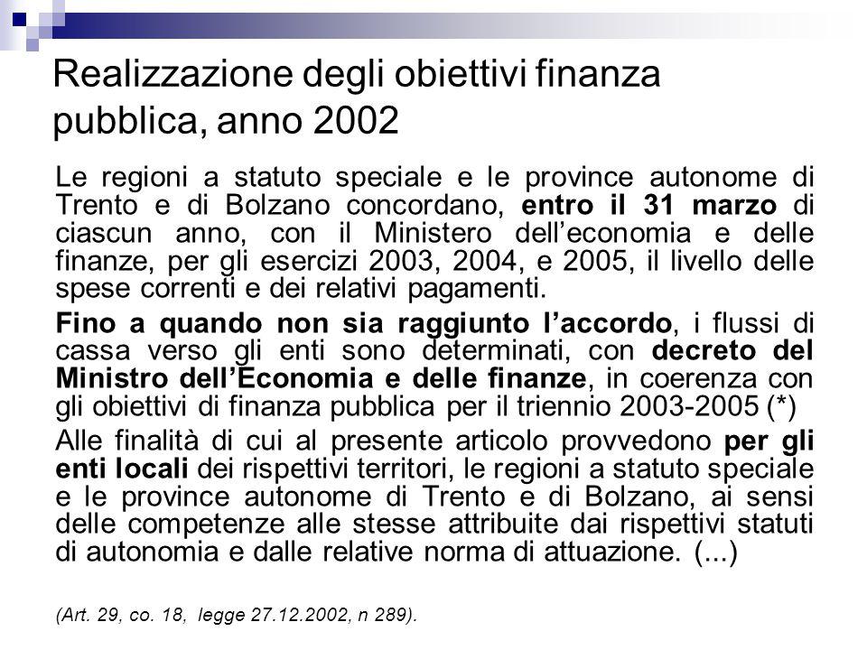 Realizzazione degli obiettivi finanza pubblica, anno 2002 Le regioni a statuto speciale e le province autonome di Trento e di Bolzano concordano, entr