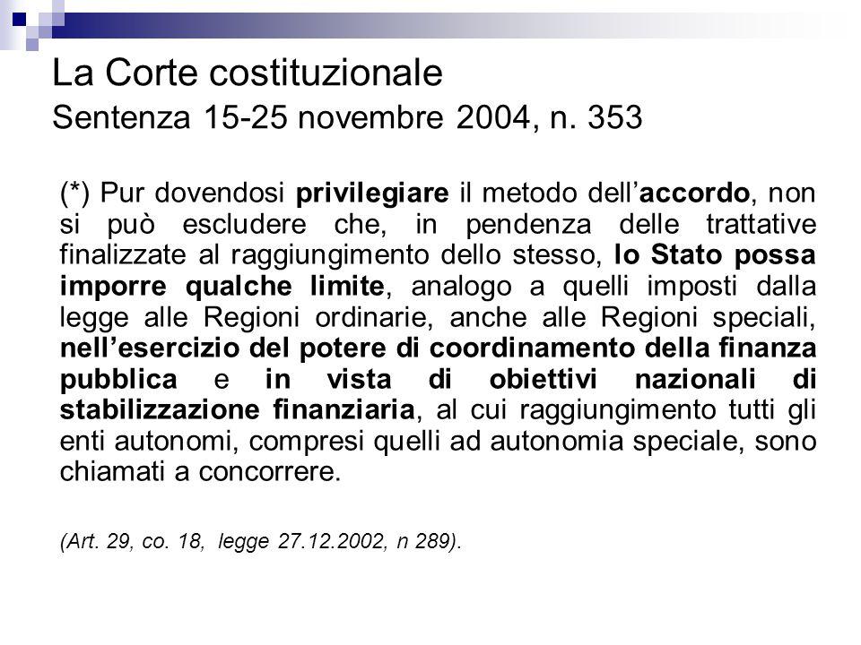 La Corte costituzionale Sentenza 15-25 novembre 2004, n. 353 (*) Pur dovendosi privilegiare il metodo dell'accordo, non si può escludere che, in pende