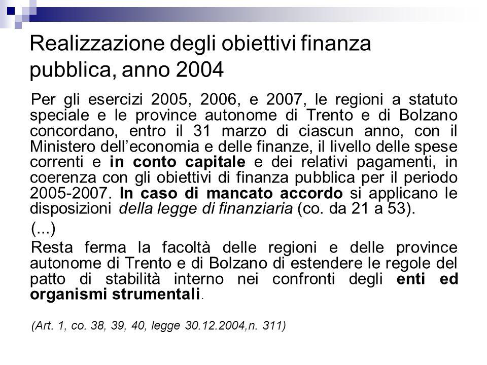 Realizzazione degli obiettivi finanza pubblica, anno 2004 Per gli esercizi 2005, 2006, e 2007, le regioni a statuto speciale e le province autonome di