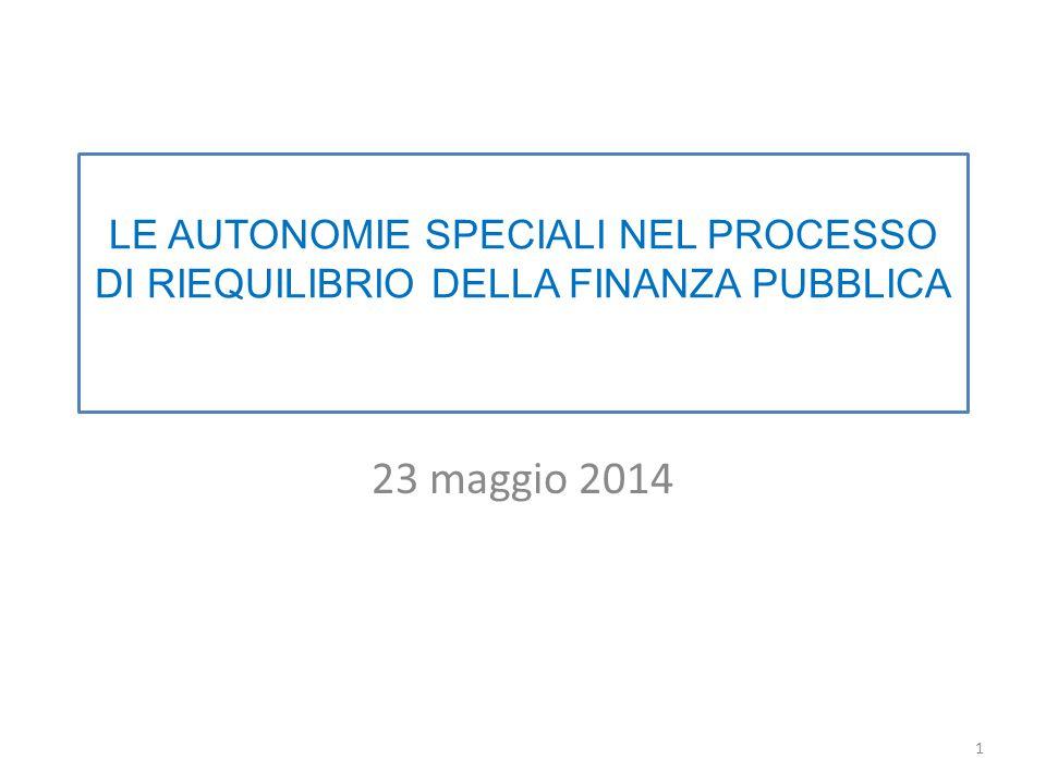 LE AUTONOMIE SPECIALI NEL PROCESSO DI RIEQUILIBRIO DELLA FINANZA PUBBLICA 23 maggio 2014 1