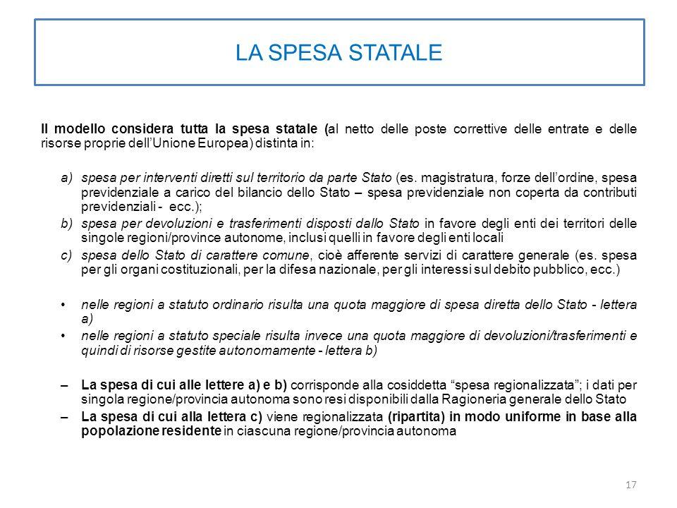 LA SPESA STATALE Il modello considera tutta la spesa statale (al netto delle poste correttive delle entrate e delle risorse proprie dell'Unione Europea) distinta in: a)spesa per interventi diretti sul territorio da parte Stato (es.