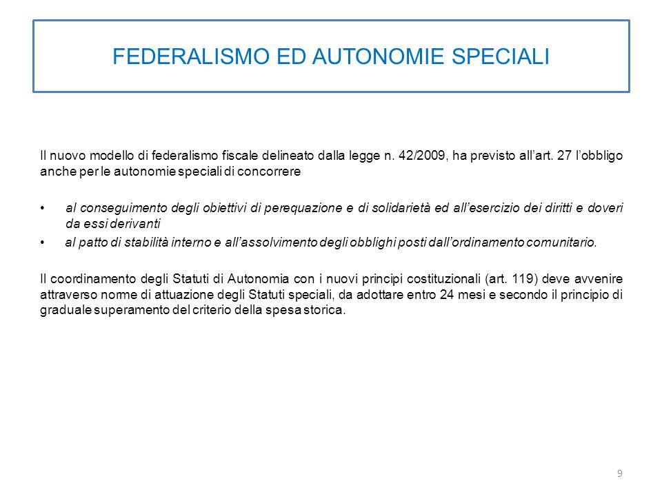 FEDERALISMO ED AUTONOMIE SPECIALI Il nuovo modello di federalismo fiscale delineato dalla legge n.