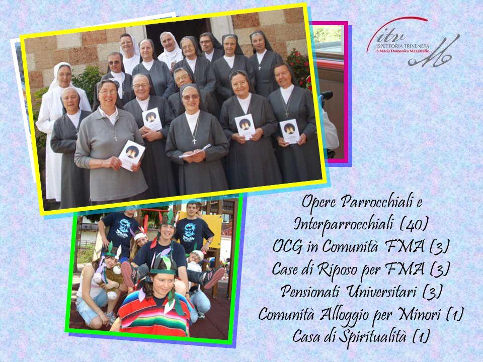 Opere Parrocchiali e Interparrocchiali (40) OCG in Comunità FMA (3) Case di Riposo per FMA (3) Pensionati Universitari (3) Comunità Alloggio per Minor