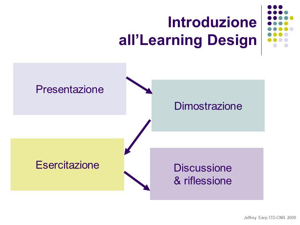 Jeffrey Earp ITD-CNR 2008 Introduzione all'Learning Design Presentazione Dimostrazione Esercitazione Discussione & riflessione
