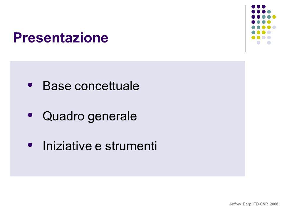 Jeffrey Earp ITD-CNR 2008 Presentazione  Base concettuale  Quadro generale  Iniziative e strumenti