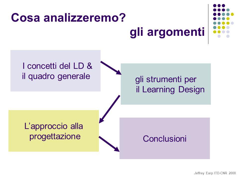 Jeffrey Earp ITD-CNR 2008 I concetti del LD & il quadro generale gli strumenti per il Learning Design L'approccio alla progettazione Conclusioni Cosa analizzeremo.