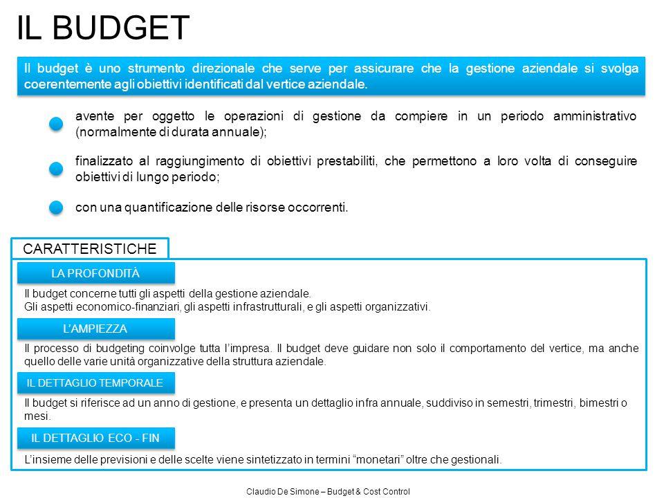 Claudio De Simone – Budget & Cost Control IL BUDGET Il budget è uno strumento direzionale che serve per assicurare che la gestione aziendale si svolga